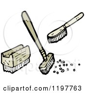 Cartoon Of Cleaning Brushes And Brooms Royalty Free Vector Illustration by lineartestpilot
