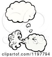 Cartoon Of A Windy Cloud Thinking Royalty Free Vector Illustration by lineartestpilot
