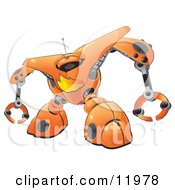 Orange Firewall Robot Clipart Illustration