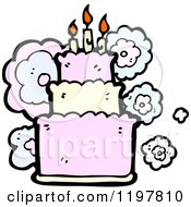Cartoon Of A Birthday Cake Royalty Free Vector Illustration by lineartestpilot