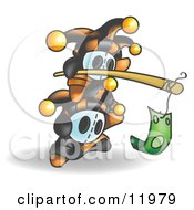 Joker Jester Characters Chasing Money Attached To The End Of A Stick Clipart Illustration