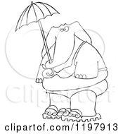 Outlined Elephant In A Bikini Holding An Umbrella