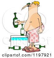 Cartoon Of A Man In Pink Swim Trunks Holding A Beer Over A Cooler Royalty Free Clipart by djart