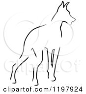 Clipart Of A Sketched Outline Of A Doberman Pinscher Dog Royalty Free Vector Illustration