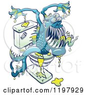 Cartoon Of A Bacteria Ridden Toilet Monster Emerging From The Bowl Royalty Free Vector Clipart