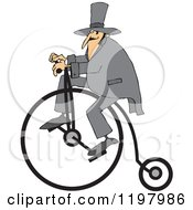 Man Wearing A Top Hat And Riding A Penny Farthing Bicycle