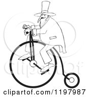 Cartoon Of An Outlined Man Wearing A Top Hat And Riding A Penny Farthing Bicycle Royalty Free Vector Clipart by djart