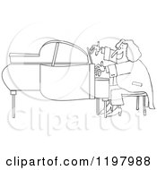 Cartoon Of An Outlined Classical Music Composer Playing A Piano Royalty Free Vector Clipart by djart