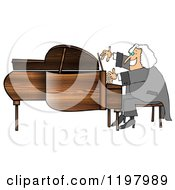 Cartoon Of A Happy Smiling Classical Music Composer Playing A Piano Royalty Free Clipart by djart