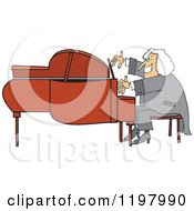 Cartoon Of A Classical Music Composer Smiling And Playing A Piano Royalty Free Vector Clipart