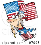 Cartoon Of Uncle Sam Carrying An American Flag Royalty Free Vector Clipart by toonaday