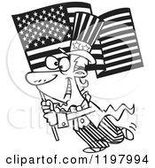 Cartoon Of An Outlined Uncle Sam Carrying An American Flag Royalty Free Vector Clipart by toonaday