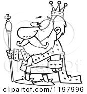 Cartoon Of An Outlined King Royalty Free Vector Clipart by toonaday