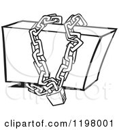 Cartoon Of An Outlined Box Locked Up In Chains Royalty Free Vector Clipart by toonaday