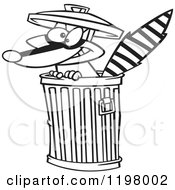 Cartoon Of An Outlined Rascal Raccoon In A Trash Can Royalty Free Vector Clipart