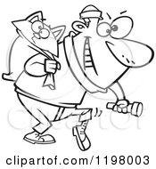 Cartoon Of An Outlined Cat Burglar Carrying A Kitty And Flashlight Royalty Free Vector Clipart