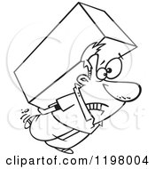 Cartoon Of An Outlined Strained Man Carrying A Heavy Big Box On His Back Royalty Free Vector Clipart by toonaday