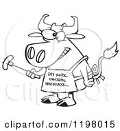 Cartoon Of An Outlined Bbq Cow Holding A Sausage On A Fork And Wearing An Eat Pork Chicken Whatever Apron Royalty Free Vector Clipart
