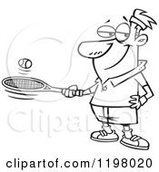 Cartoon Of An Outlined Man Bouncing A Ball On His Tennis Racket Royalty Free Vector Clipart by toonaday