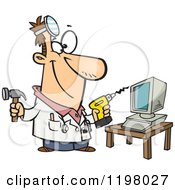 Cartoon Of A Computer Repair Technician With Tools Royalty Free Vector Clipart by toonaday