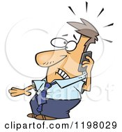 Cartoon Of A Businessman Receiving A Distress Call Royalty Free Vector Clipart