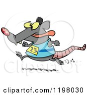 Cartoon Of A Rat Running A Race Royalty Free Vector Clipart by toonaday