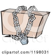 Cartoon Of A Box Locked Up In Chains Royalty Free Vector Clipart