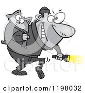 Cartoon Of A Cat Burglar Carrying A Kitty And Flashlight Royalty Free Vector Clipart by Ron Leishman