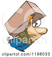 Strained Caucasian Man Carrying A Heavy Big Box On His Back