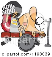 Cartoon Of A Man Doing The Chest Press On A Gym Bench Royalty Free Vector Clipart
