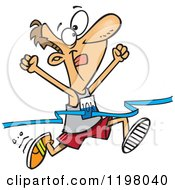 Cartoon Of A Male 10k Runner Crossing The Finish Line Royalty Free Vector Clipart by toonaday