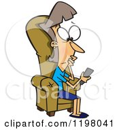 Cartoon Of A Clueless Caucasian Woman Looking At A Television Remote Control Royalty Free Vector Clipart