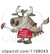 Cartoon Of A Bbq Cow Holding A Sausage On A Fork And Wearing An Eat Pork Chicken Whatever Apron Royalty Free Vector Clipart by toonaday