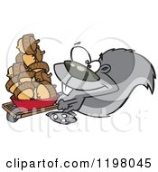 Cartoon Of A Prepper Squirrel With A Wheelbarrow Full Of Acorns Royalty Free Vector Clipart by toonaday