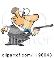 Cartoon Of A Male Caucasian Secret Angent Pointing A Gun With A Silencer Royalty Free Vector Clipart