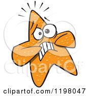 Cartoon Of A Scared Orange Starfish Royalty Free Vector Clipart