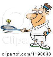 Cartoon Of A Caucasian Man Bouncing A Ball On His Tennis Racket Royalty Free Vector Clipart
