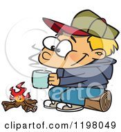 Cartoon Of A Happy Blond Boy With Hot Cocoa By A Camp Fire Royalty Free Vector Clipart by toonaday