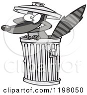 Cartoon Of A Grinning Rascal Raccoon In A Trash Can Royalty Free Vector Clipart