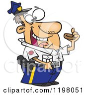 Cartoon Of A Male Police Officer Eating A Donut Royalty Free Vector Clipart