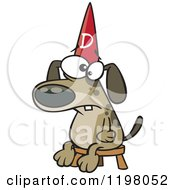 Cartoon Of A Dumb Dog Wearing A Hat On A Stool Royalty Free Vector Clipart