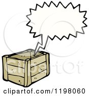 Cartoon Of A Wooden Crate Speaking Royalty Free Vector Illustration