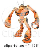 Orange Guardian Robot Clipart Illustration