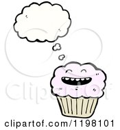 Cartoon Of A Cupcake Thinking Royalty Free Vector Illustration by lineartestpilot