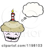 Cartoon Of A Birthday Cupcake Thinking Royalty Free Vector Illustration by lineartestpilot
