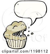 Cartoon Of A Cupcake Speaking Royalty Free Vector Illustration by lineartestpilot