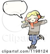 Cartoon Of A Girl Ice Skating And Speaking Royalty Free Vector Illustration