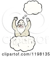 Cartoon Of A God In Heaven Thinking Royalty Free Vector Illustration