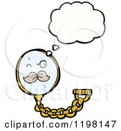 Cartoon Of A Monocle Thinking Royalty Free Vector Illustration