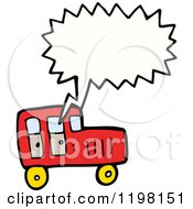 Cartoon Of A Red Truck Speaking Royalty Free Vector Illustration